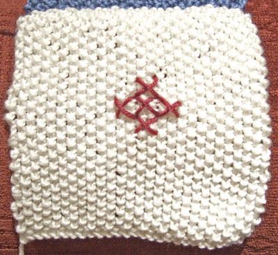 Moss stitch square with diamond