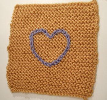 Garter Stitch Square with chain stitch heart