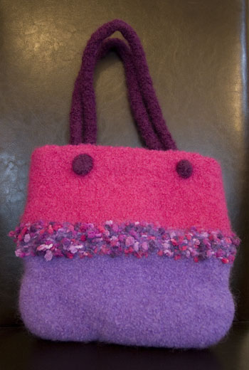 magenta felted bag
