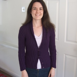 purple ribbed cardi