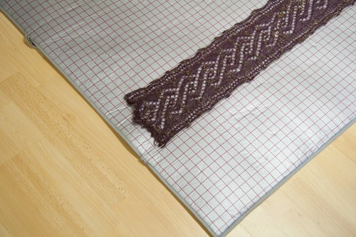 blocking a scarf on my blocking mat